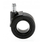 Perforated black rubber castors, 65 mm