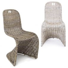 Zanzibar - Shabby chic chair with iron structure and weaving in kubu rattan, available in different colours