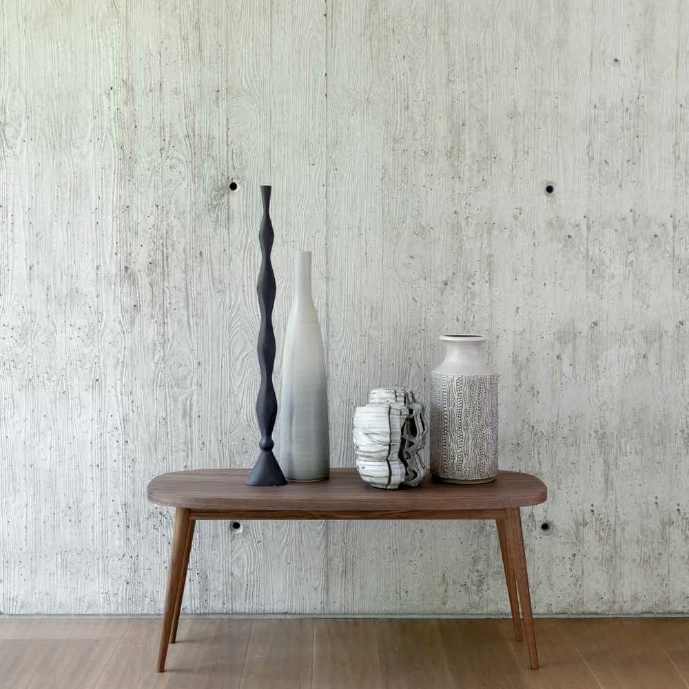 Coffe table in American walnut wood, with wooden top, high model