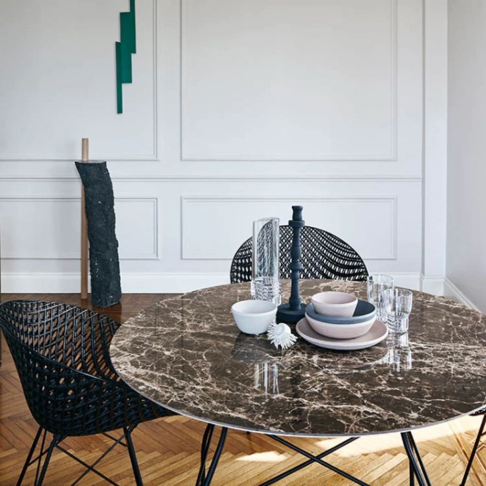 Round table by Kartell, model Glossy Marble