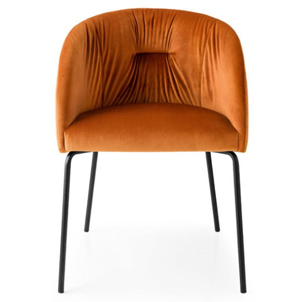 Black varnished metal armchair, seat covered with brick red Venice fabric