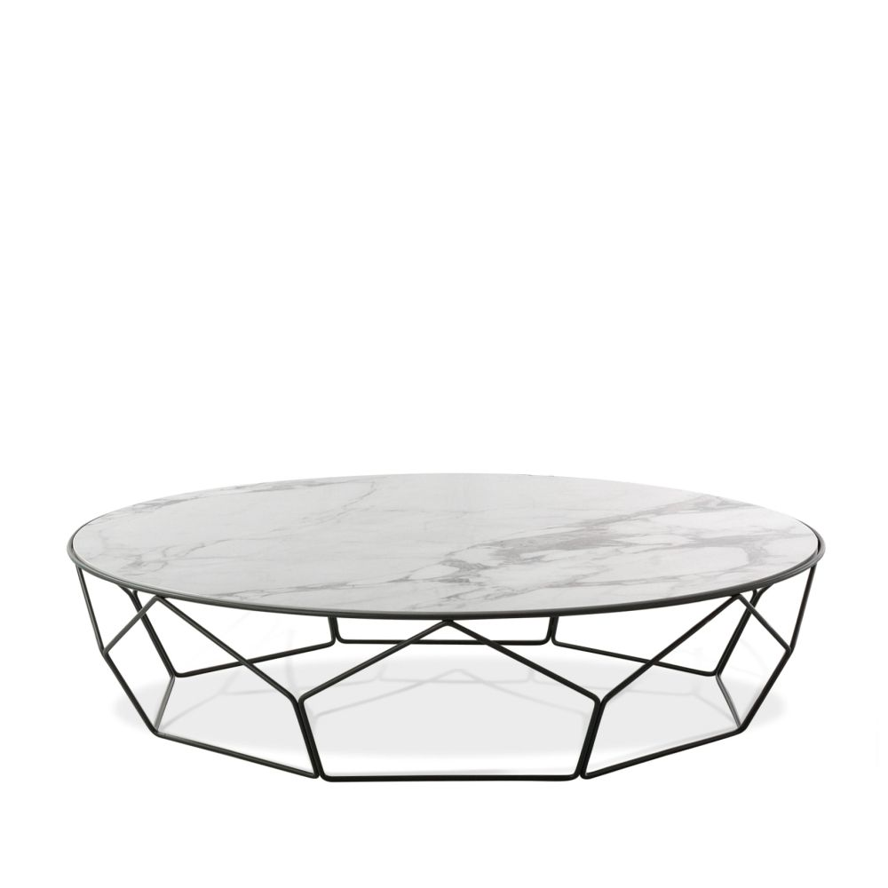 Bonaldo coffee table with metal base,  Ø 117 cm, black base and Calacatta tabletop
