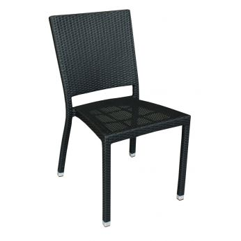E18 - Stackable chair in aluminium and synthetic rattan, black colour