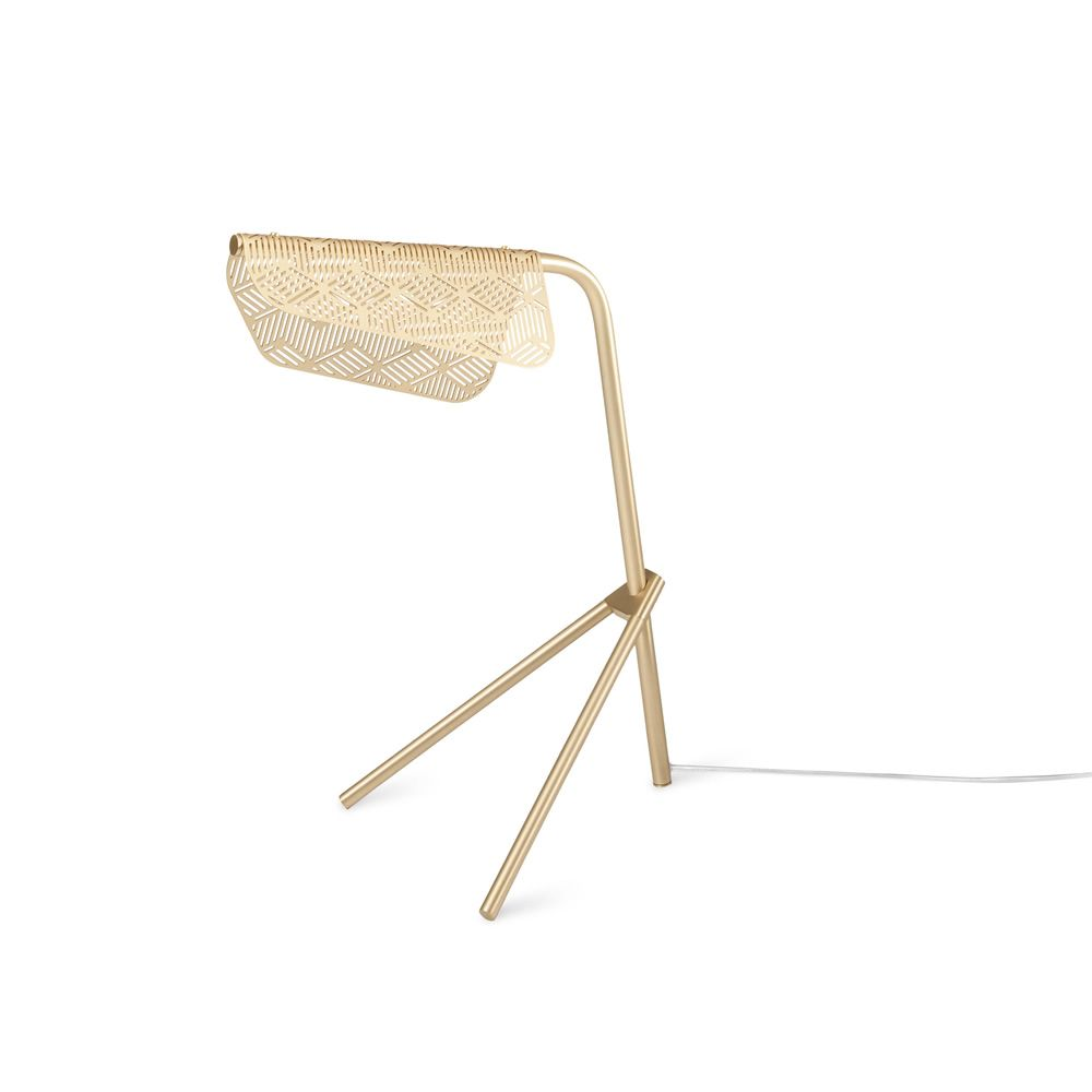 Table lamp made of brushed brass with satin varnish, equipped with LED light