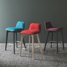 CB1488 Sami - Wooden bar stool, seat covered with fabric in several colours, seat height 65 cm