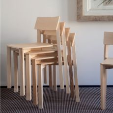 Simple One - Valsecchi stackable chair made of ash wood
