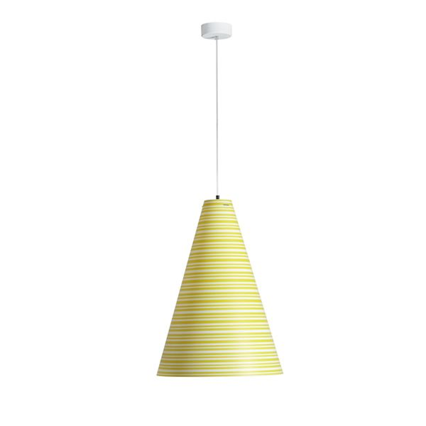 Pendant lamp made of polypropylene with striped decoration in yellow colour