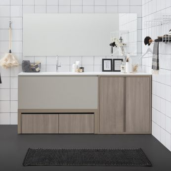 Acqua e Sapone E - Sink cabinet with structure in rope colour elm and deep drawer in matt hemp colour, matching with Filo Lucido mirror and Sapone S drying rack wall unit