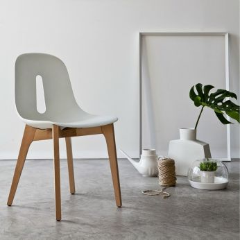 Gotham Wood - Natural stained wood chair with white seat