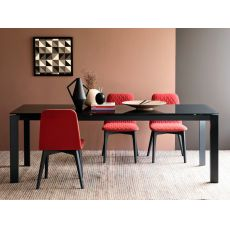 CB4010-MV 110 Baron Outlet - Connubia Calligaris metal table, with glass top, 110 x 70 cm extendable