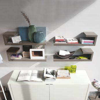 CS6004-7 Seattle - Modular shelves with lacquered frame, glossy dove-grey colour (orientation: right and left)