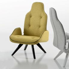 Betibù Wood P - Designer armchair Chairs&More, in wood with upholstered seat, available in different colours