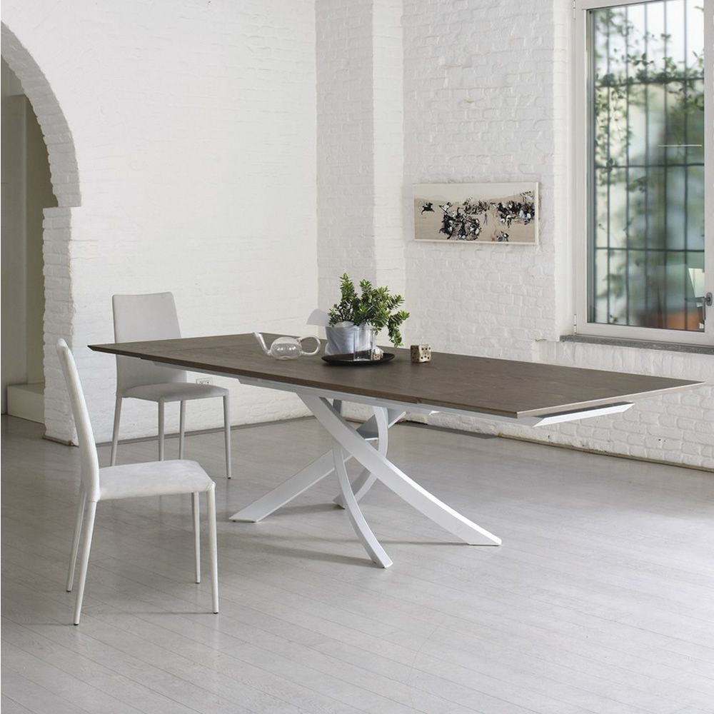 Fixed design table with central metal pedestal