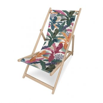 Chilienne Nat - Pôdevache folding deckchair in pronted polyesther fabric, Rainbow Plants pattern