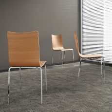 Bibip - Midj stackable metal chair, laminate seat