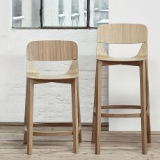 Leaf stool 439 - Ton stool in wood, with wooden seat, seat's height of 61 or 76 cm