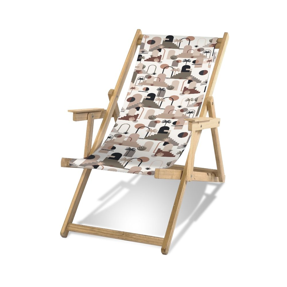 Pôdevache folding deckchair in pronted polyesther fabric, Terra Nova pattern