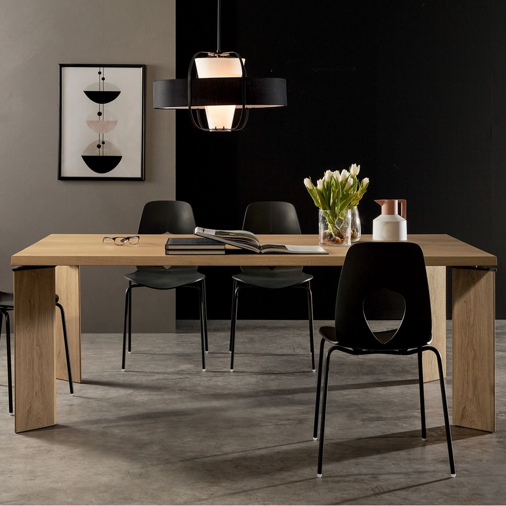 Fixed table made of natural oak wood with veneered wooden top, knotty natural oak finish