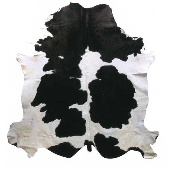 Rug in natural leather, white/black
