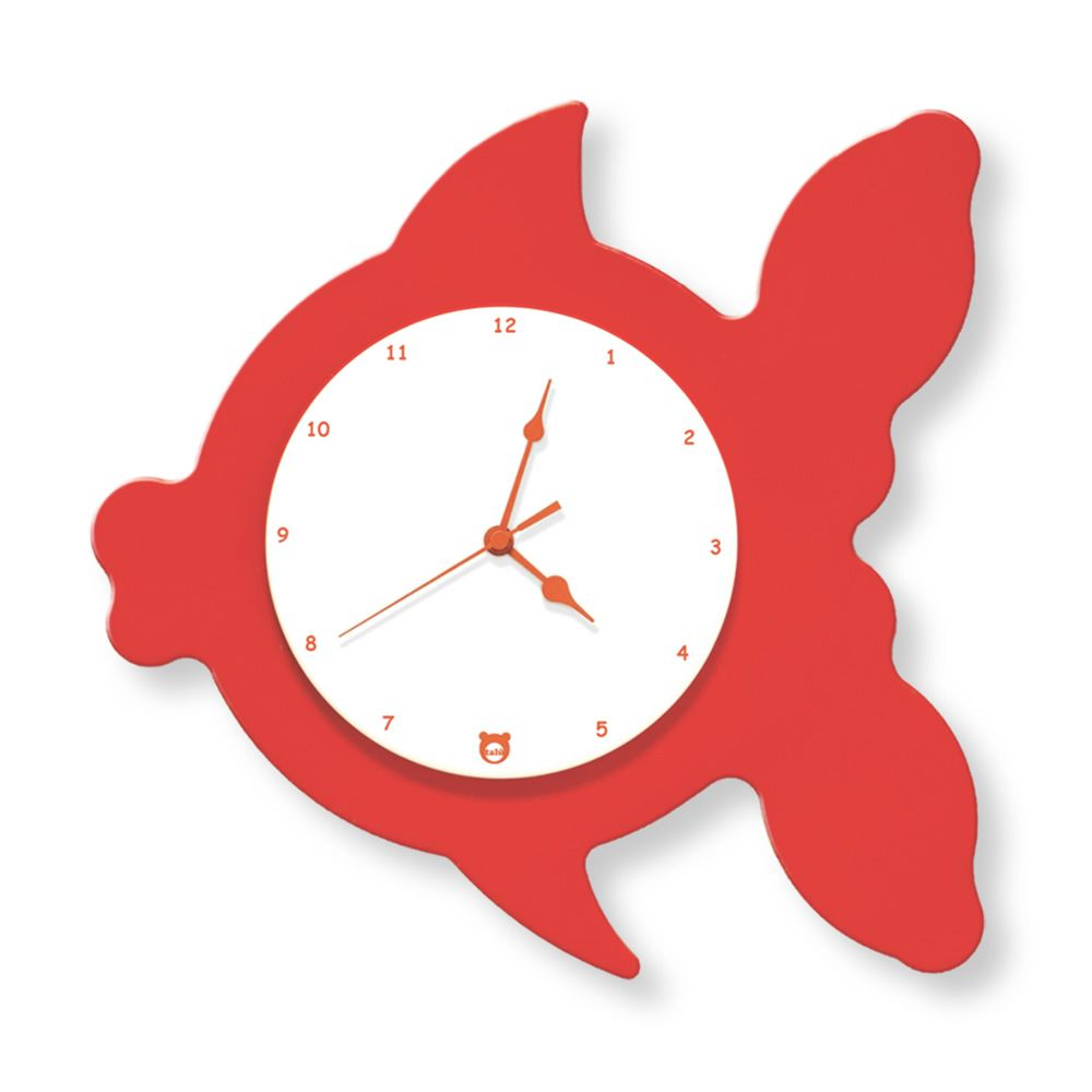 Wall clock in red lacquered MDF wood