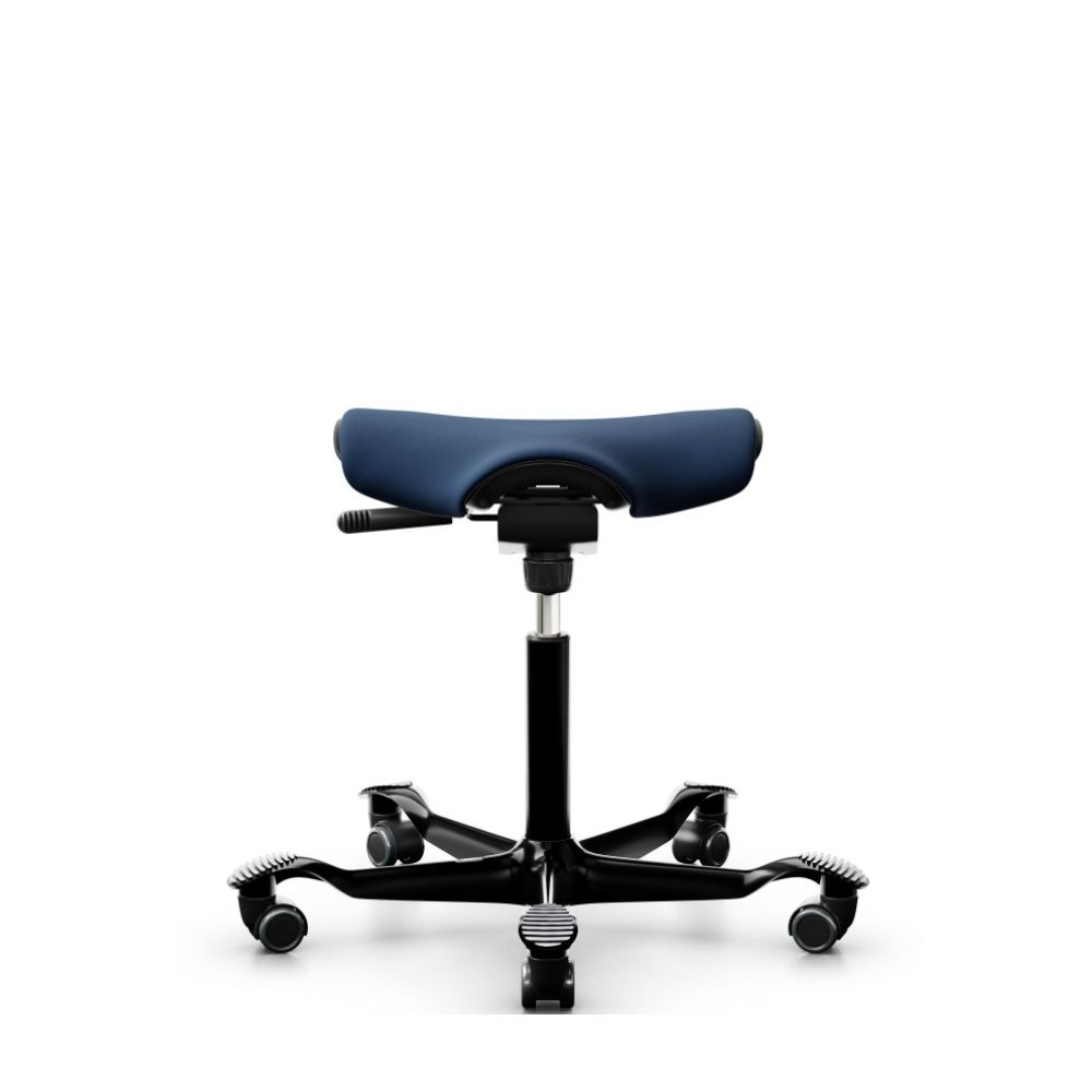 Hag ergonomic stool, with black frame and reat with dark blue covering