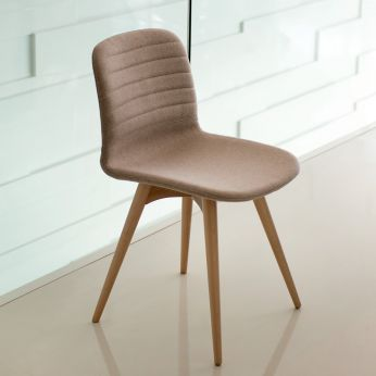 Liù L - Wooden chair with padded seat, different upholsteries and colours available