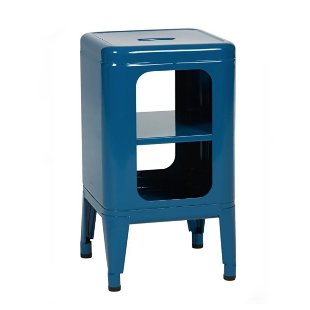 Stool furniture in varnished steel, colour blue, glossy finish, heigh 50 cm