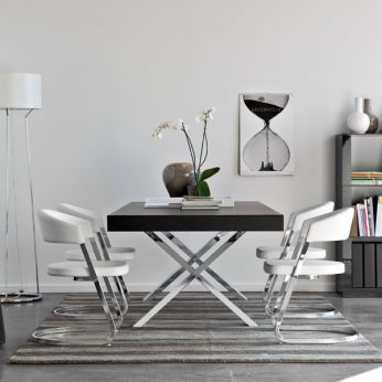 CS4060-R Axel - Chromed metal table, with graphite veneered top
