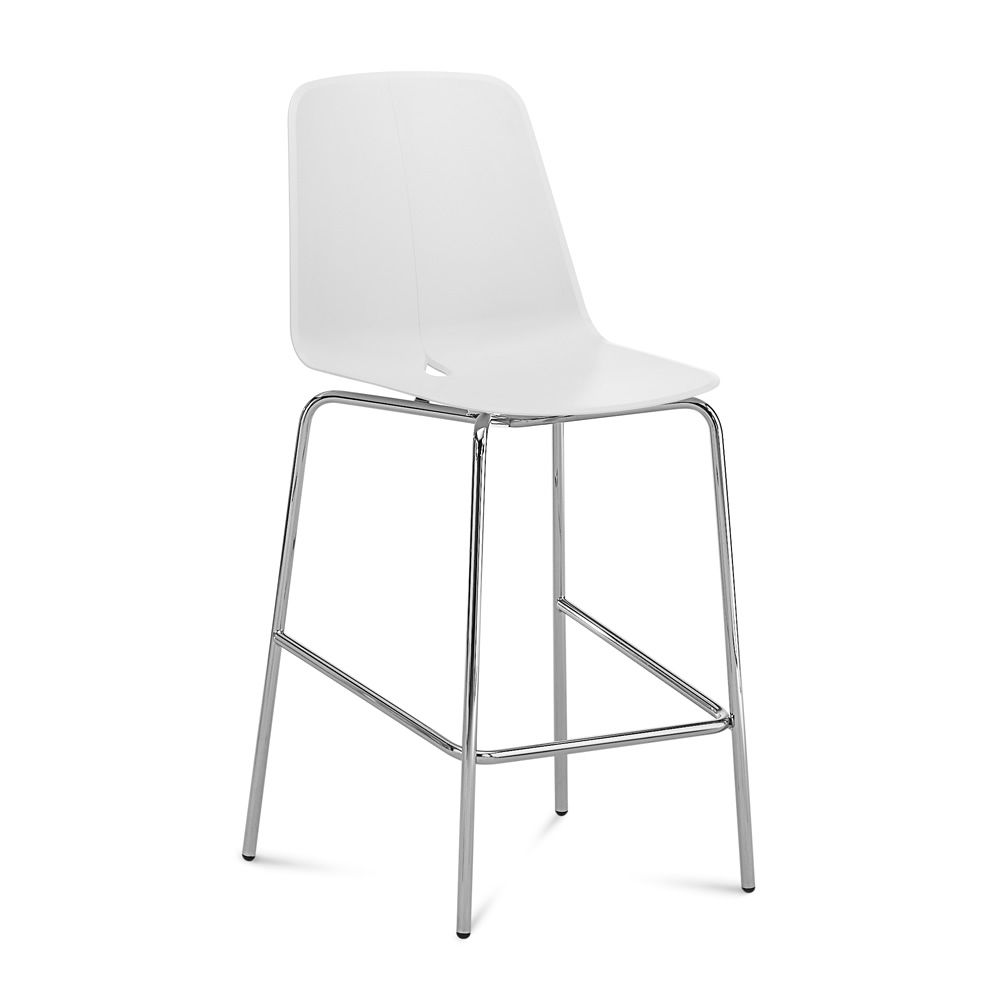 Fixed stool made of chromed metal with white polypropylene seat