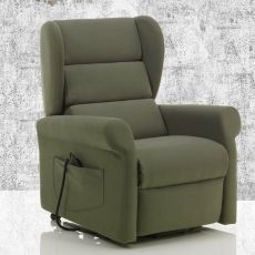 Camelia - Electric and adjustable relax armchair, different upholsteries and colours available, totally removable covering, with Roller system, also with massage kit