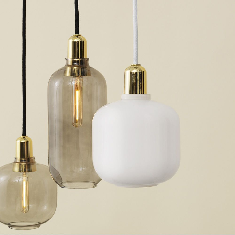 Pendant lamp made of glass with brass base