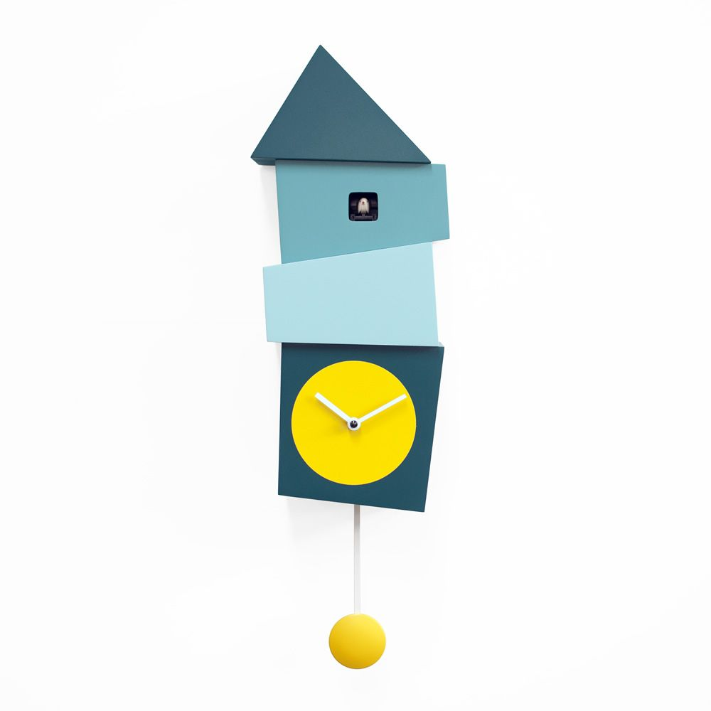 Wall cuckoo clock made of wood, with yellow round clock face