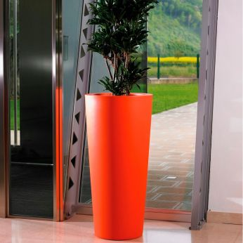 Ortensia - Cylindrical flowerpot for outdoor, orange colour