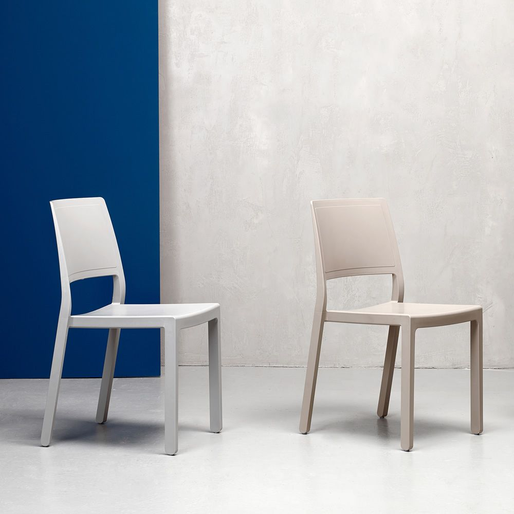 Plastic chairs, linen white colour and dove grey
