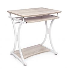 Vas - Desk in metal and MDF, with sliding ketboard tray
