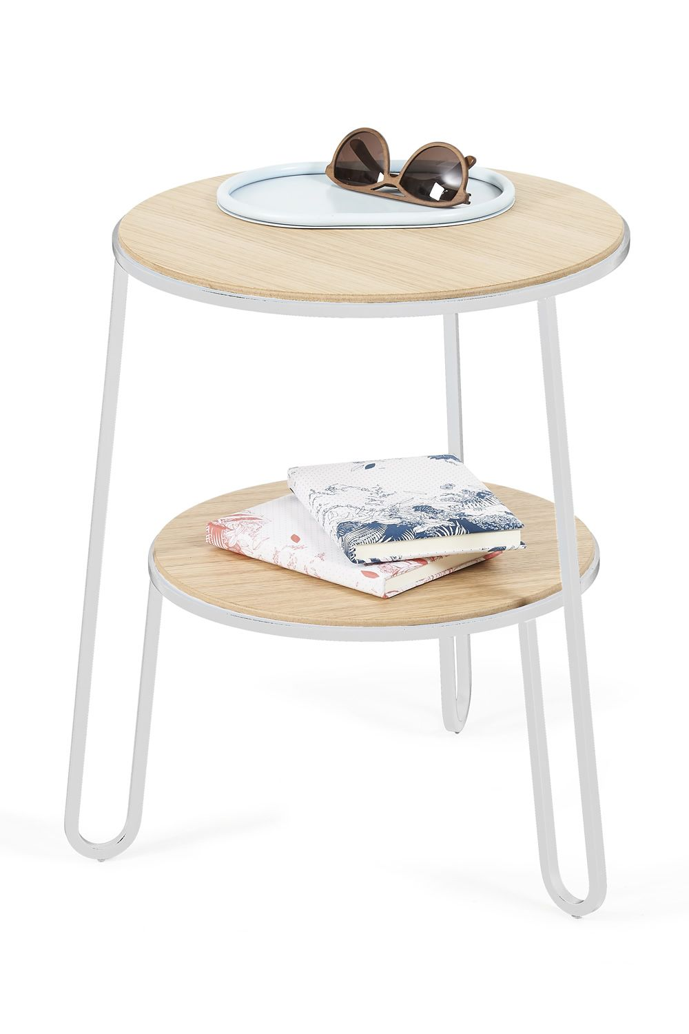 Side table in white varnished metal, with wooden top