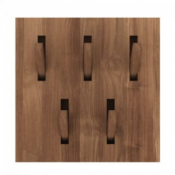 Utilitile-H - Wall coat rack with hidden hooks, made of teak