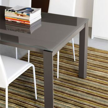 CB4724-R 110 Eminence M - Detail: table made of dove-grey varnished metal with dove-grey serigraphed glass top