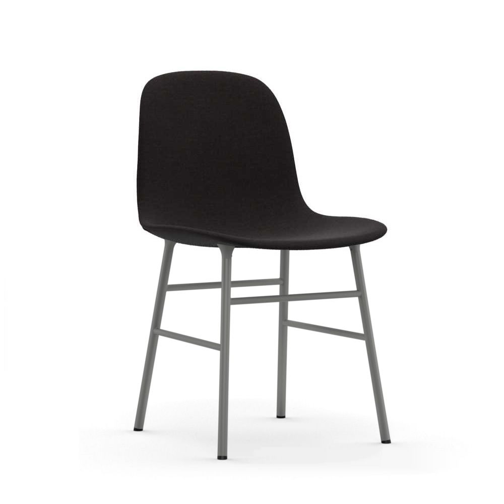 Chair made of grey lacquered metal, padded seat covered with Remix fabric, in black colour
