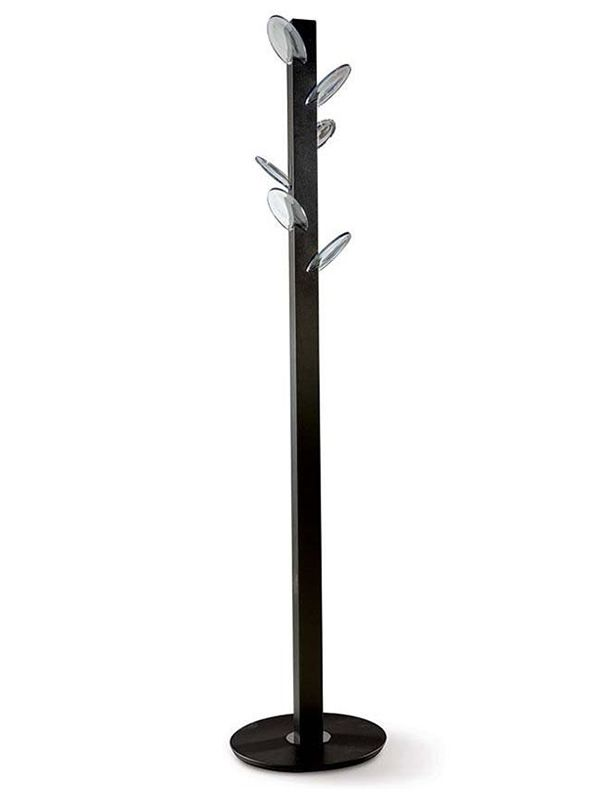 Coat-stand with chocolate varnished steel structure, transparent polycarbonate hooks