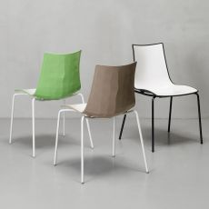 Zebra Bicolour 2272 - Metal chair with two-coloured polymer seat, stackable