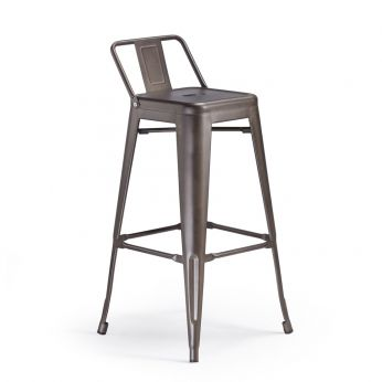 TT884 REP - Stackable stool made of galvanized metal, in rust colour
