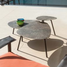 Terramare T - Emu coffee table in aluminium and gres, several sizes, also for garden