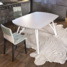 Wonder - Design table Bontempi Casa, 170 x 106 cm extendible, with metal structure and top in glass or wood, available in different colours