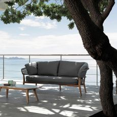 Moon - D - Sofa in teak and aluminium, cushions with removable covering, also for garden