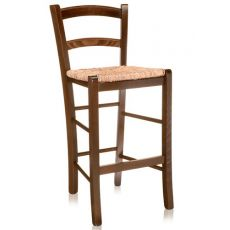 199 - B - Country style stool in wood, height 64 cm, different dyes available, with seat in wood, straw or different types of fabric