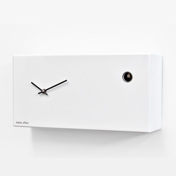 Polished white wood clock
