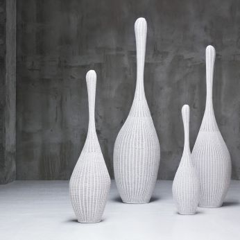 Bolla - Floor lamp in white lacquered rattan