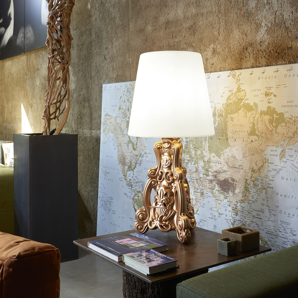 Design lamp made of lacquered polyethylene in metallic copper colour