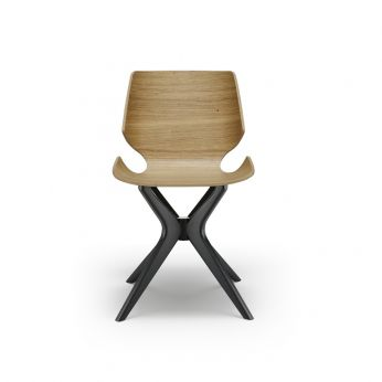 Linz-Ma - Wooden chair in black grey varnished beech, oak seat in natural dyed